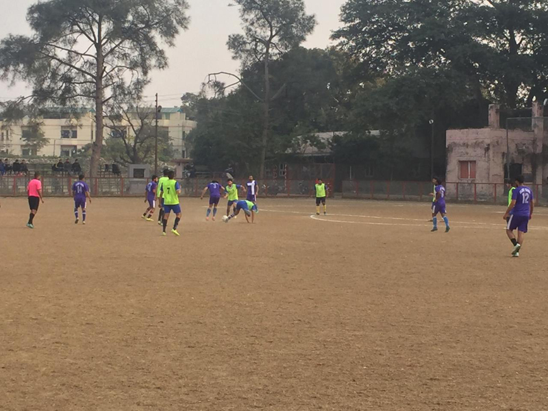 Players in action during football match at Jammu on Sunday.