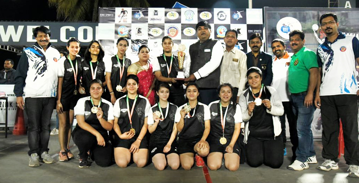 J&K Roll Ball women team being honoured by dignitaries after winning Gold medal.