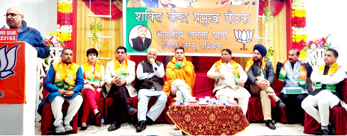 BJP national VP, Avinash Rai Khanna addressing Shakti Kendras meeting at Jammu on Tuesday.