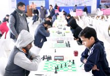 Players during Senior National Chess Championship at Jammu on Sunday. -Excelsior/Rakesh