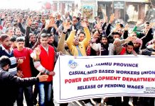 PDD daily wagers during a protest rally at Jammu on Tuesday. -Excelsior/Rakesh