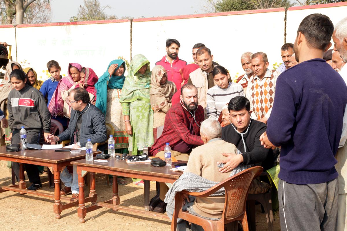 HoD Cardiology GMC Jammu Dr Sushil Sharma examining patients at Sunail, Akhnoor on Sunday.