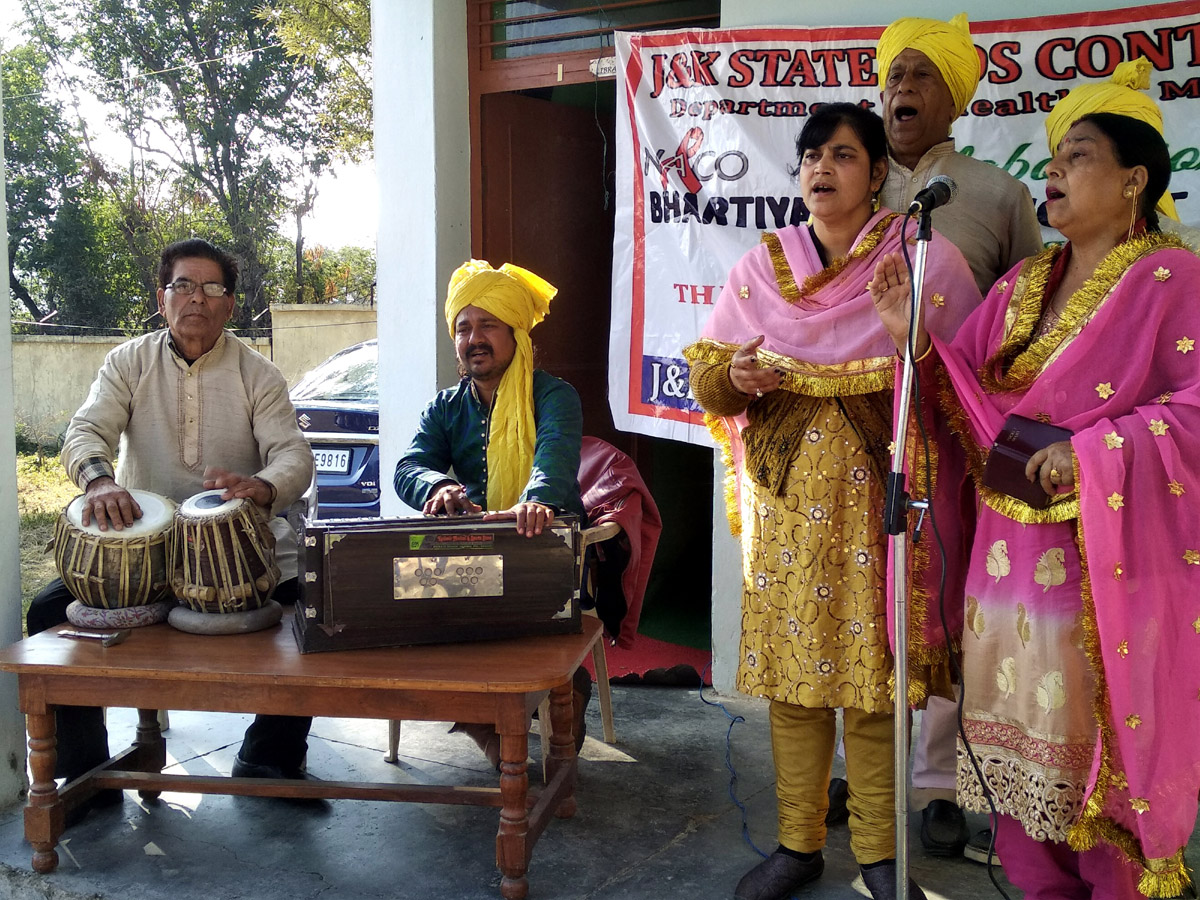 A scene of Dogri musical play 'Saneha' staged at Jammu.