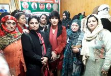 BJP Mahila Morcha leaders during a party programme at Anantnag on Wednesday.