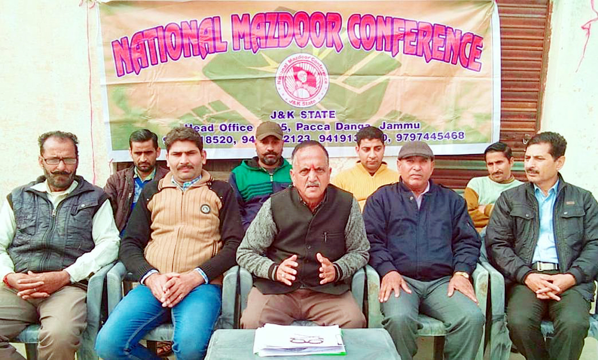 Subash Shastri addressing NMC workers at Jammu on Wednesday.