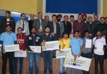 Top ten winners of Senior National Chess Championship and dignitaries posing for group photograph at Jammu on Tuesday. — Excelsior/Rakesh