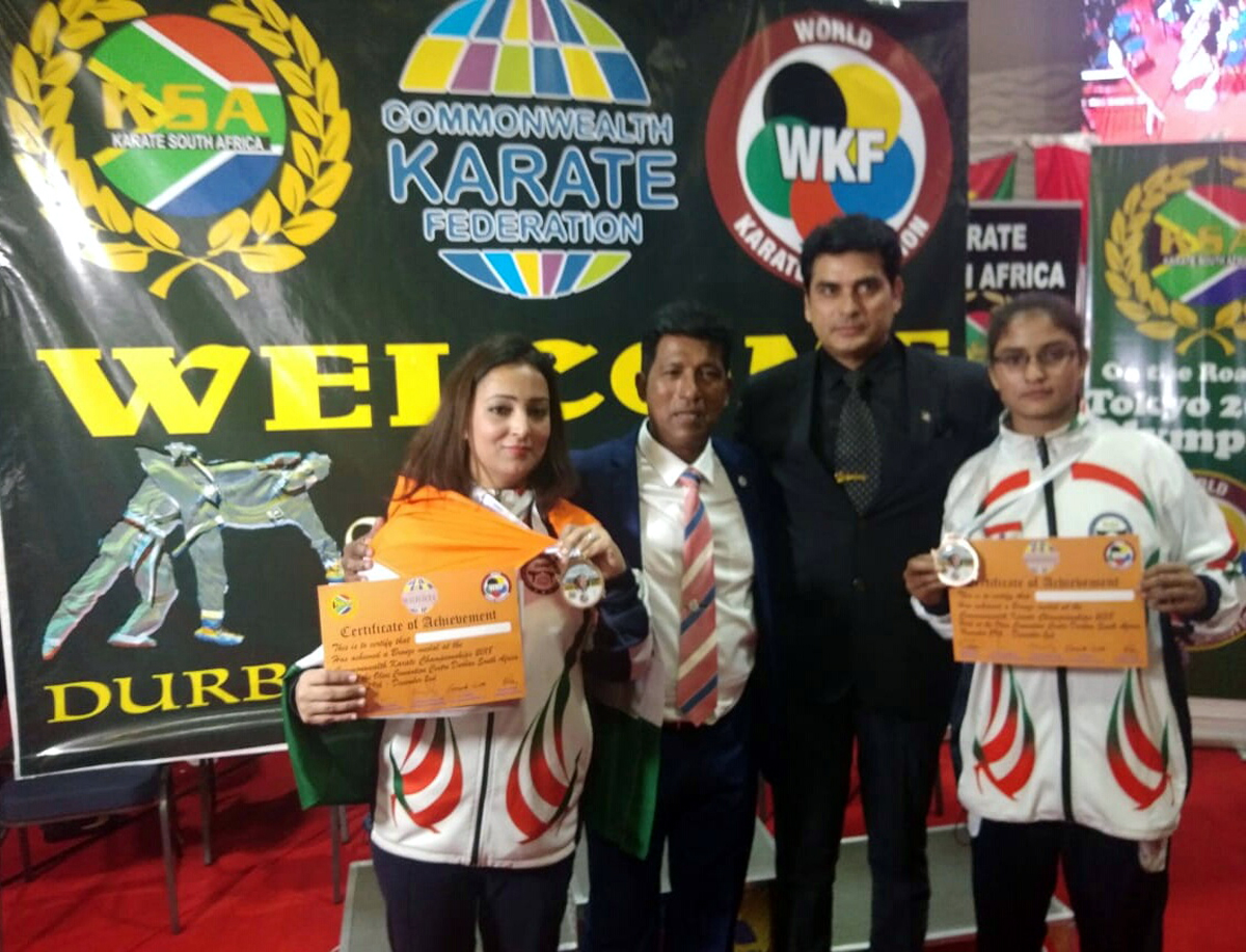 J&K's ace Karatekas and coach posing along with Hanshi Sonny Pillay, President South Africa Karate Federation and newly elected president of Commonwealth Karate Federation.