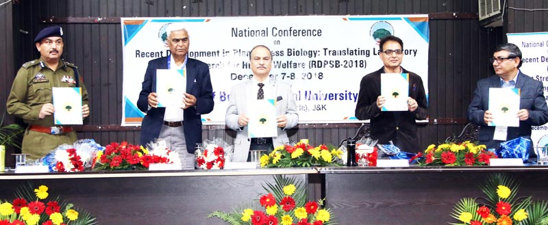 Dignitaries during the start of two day national conference at University of Jammu on Friday.