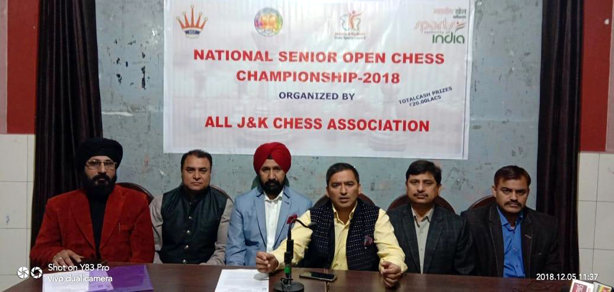 President J&K Chess Association, Atul Kumar Gupta being flanked by other office bearers addressing media persons in Jammu. -Excelsior/Rakesh