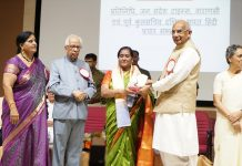 Dignitaries honouring a scholar at a seminar organised by Hindi Kashmiri Sangam at Chennai (T.N)