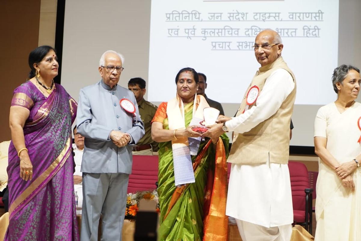Dignitaries honouring a scholar at a seminar organised by Hindi Kashmiri Sangam at Chennai (T.N)