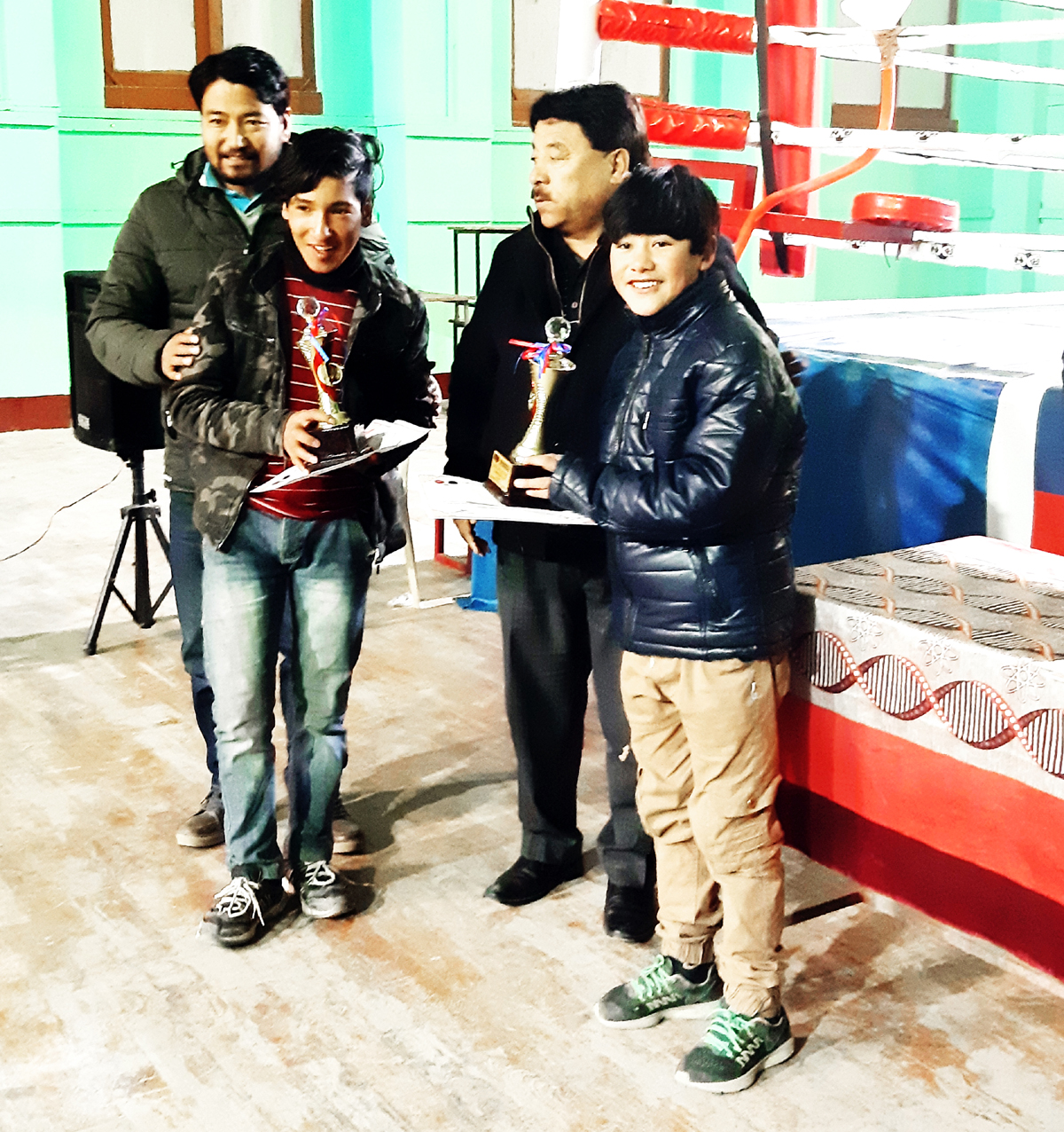 Dignitaries awarding the winner of 5th District Table Tennis Tournament at Leh. -Excelsior/Morup Stanzin