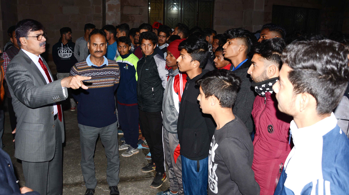 Advisor K Vijay Kumar interacting with NCC cadets representing State in Republic Day Camp.