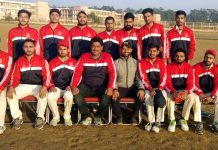 JU team players posing for group photograph after winning match against DAV Jalandhar.