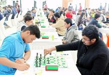 Chess players making moves during their matches in the ongoing Senior National Chess Championship at Jammu on Monday. —Excelsior/Rakesh