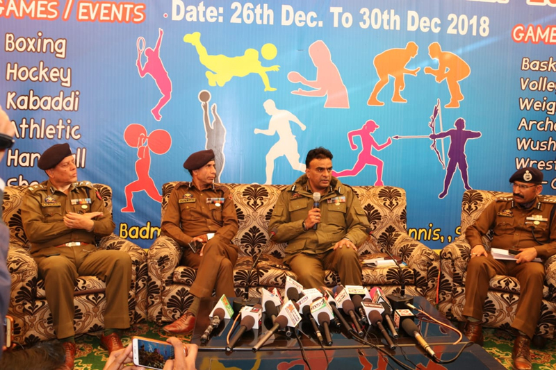 IGP Armed Danish Rana and other dignitaries addressing media persons in Jammu on Monday.