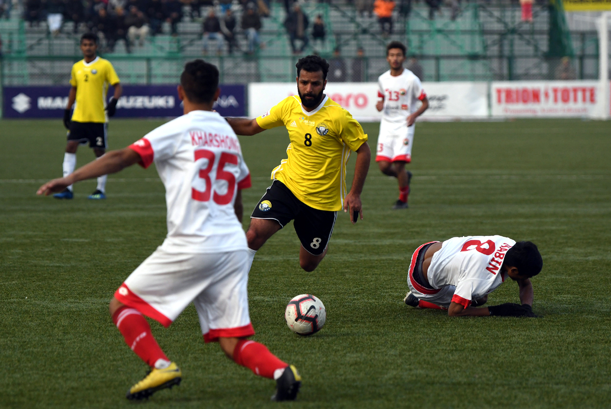 Real Kashmir FC during I-Leage match with Shillong Lajong FC at TRC stadium on Tuesday. — Excelsior / Shakeel