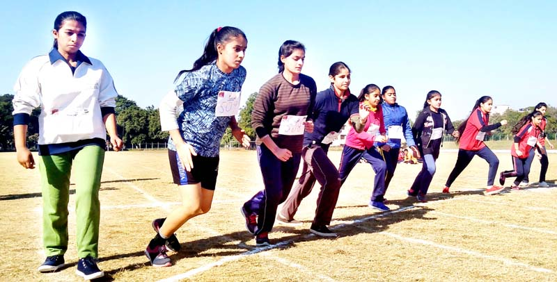 Athletes during trials at Jammu on Saturday.