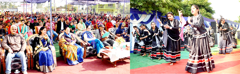 Dignitaries watching students in colourful attires presenting dance item while celebrating Annual Day at KNIT.