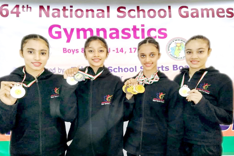 Nandini, Vandhana, Bavleen and Stuti posing for a group photograph after excelling in 64th National School Games at Pune.