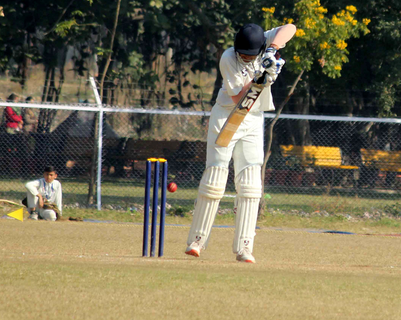 Batsman in action during a Ranji Trophy match between J&K and Odisha at GGM Science College Hostel ground in Jammu. -Excelsior/Rakesh