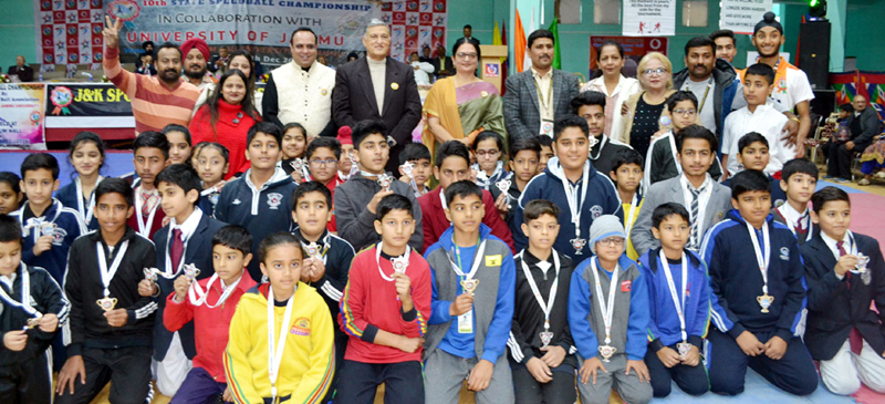 Speedball players posing for a group photograph along with dignitaries and officials during 10th State Championship in Jammu.