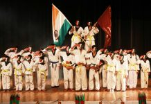 Students presenting cultural item during Annual Day celebrations.