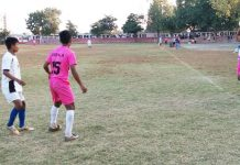 Players in action during football match at Jammu on Friday.