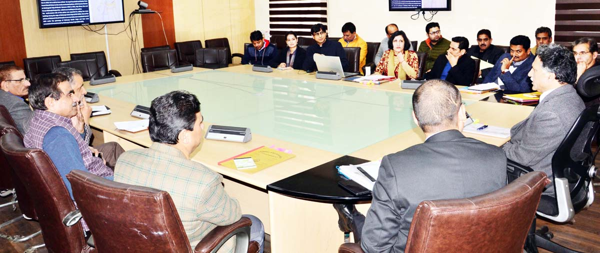 Advisor to Governor, Khurshid Ahmed Ganai chairing a meeting in Jammu on Tuesday.