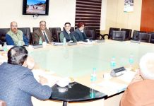 Advisor K Vijay Kumar chairing a meeting on Monday.