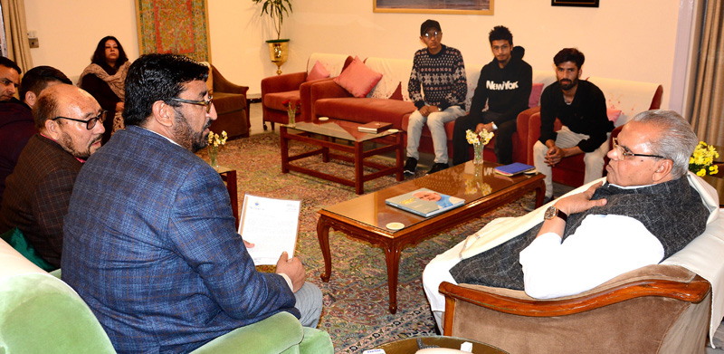 Governor meeting delegation from Kargil on Wednesday.