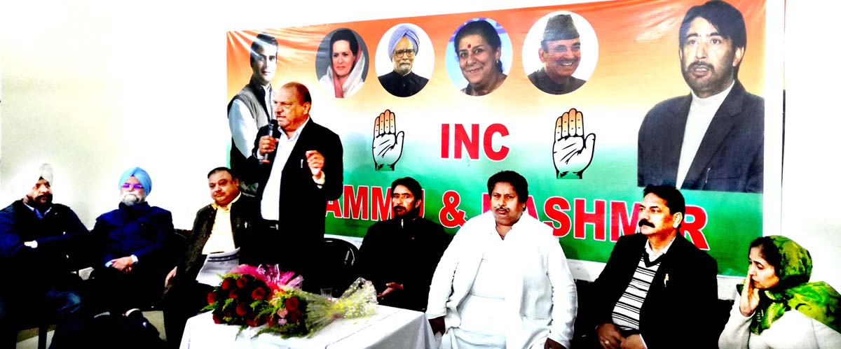 Senior PCC leader Mula Ram addressing Cong meeting in Jammu on Monday.