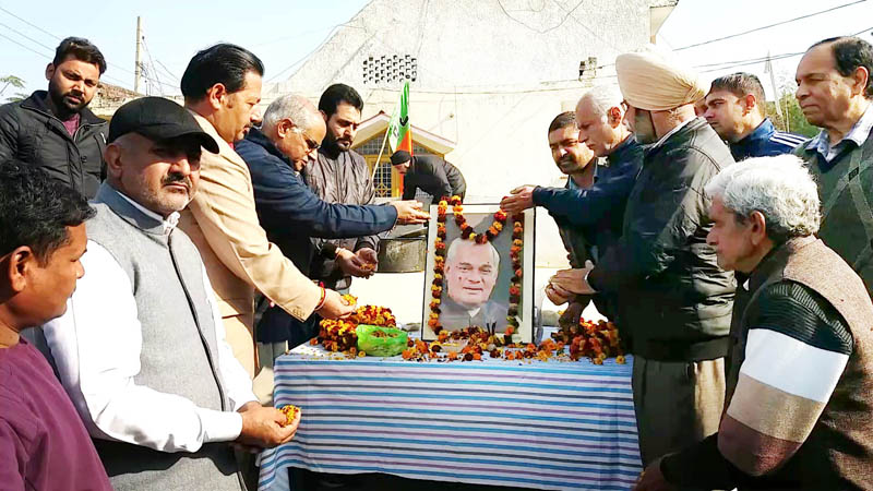 BJP leaders paying tributes to former PM, Atal Bihari Vajpayee on his 94th birth anniversary at Jammu on Tuesday.