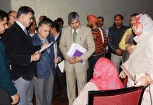 Advisor K Vijay Kumar interacting with a delegation on Thursday.