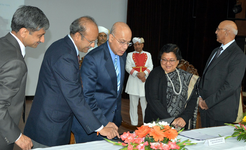 Chief Justice Gita Mittal launching e-Newsletter of State Judicial Academy on Saturday.