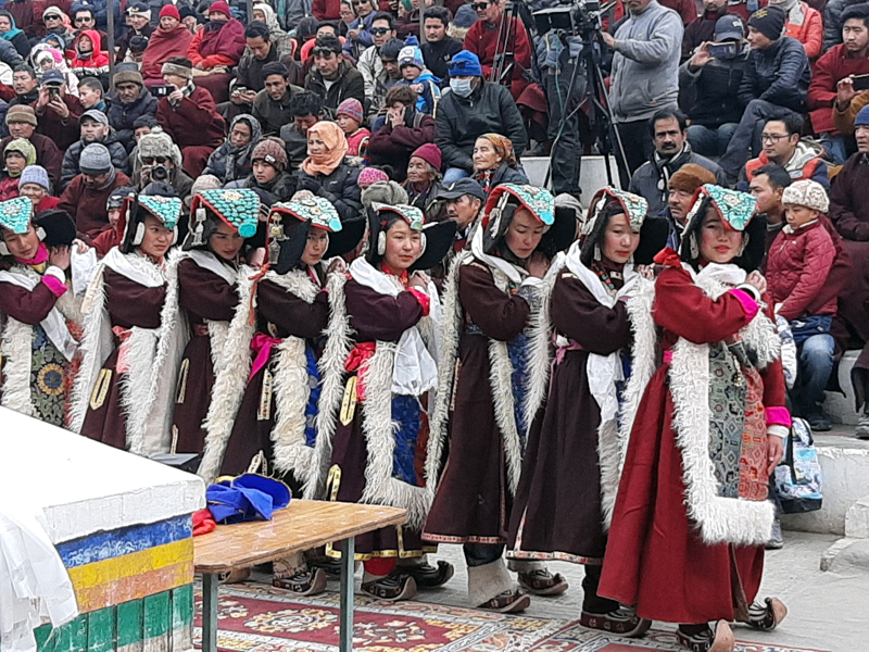 A group of artists presenting a cultural performance during Losar festival in Leh. -Excelsior/Morup Stanzin