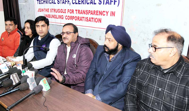 PEECC Convenor Sachin Tickoo and others at a joint press conference in Jammu on Monday. -Excelsior/Rakesh