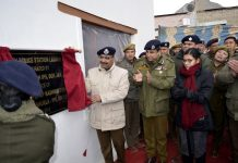 DGP Dilbag Singh inaugurating Women Police Station at Leh on Wednesday. —Excelsior/Morup Stanzin