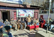 Members of DCC highlighting achievements of P Namgyal. -Excelsior/Morup Stanzin