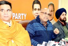 BJP national vice president Avinash Rai Khanna addressing a press conference at Jammu on Monday. -Excelsior/Rakesh