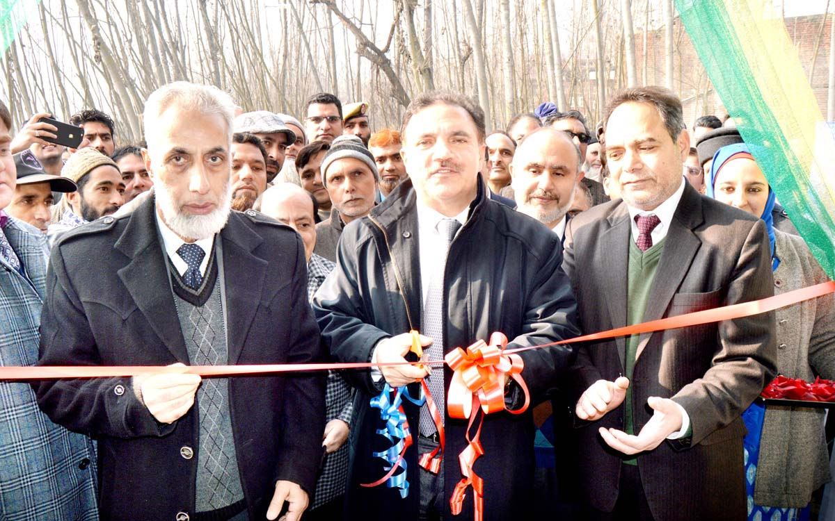 J&K Bank Chairman inaugurating new premises of bank's business unit at Dabb Ganderbal on Monday.