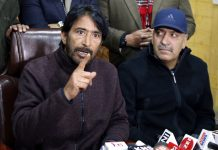 President J&K Pradesh Congress Committee GA Mir addressing a press conference in Srinagar. —Excelsior/Shakeel