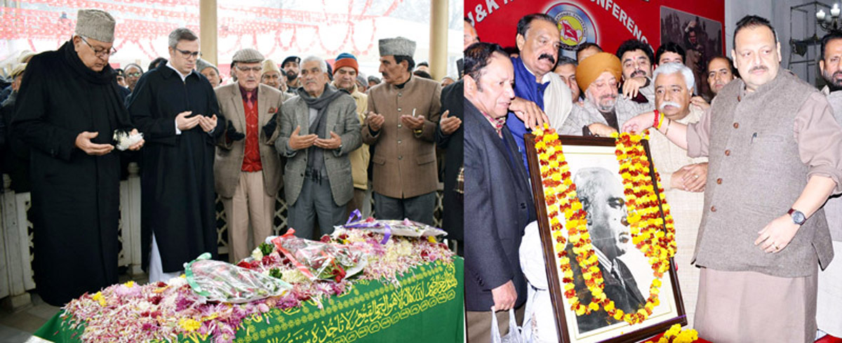 Dr Farooq Abdullah, Omar Abdullah and others paying tributes to Lt. Sheikh Mohd Abdullah at his Mazar in Srinagar (L) and senior NC leader Devender Singh Rana and others paying tributes in Jammu (R).