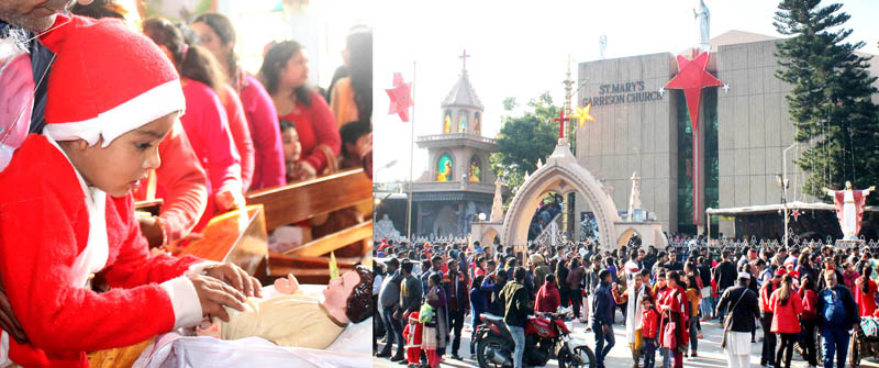 A child touching the feet of Jesus Christ during Christmas celebrations in Jammu (left), devotees assembled outside church in Gandhi Nagar to pay obeisance (right). -Excelsior/Rakesh