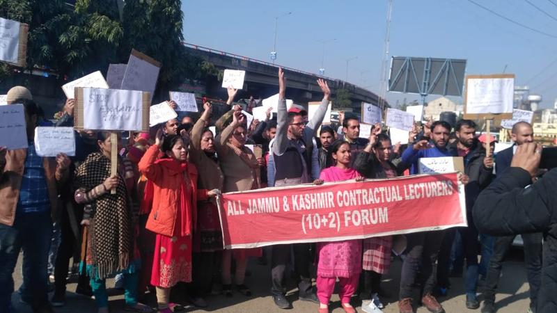Contractual Lecturers taking out protest march towards Civil Secretariat on Thursday.