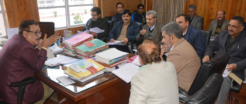 Principal Secretary Finance Navin K Choudhary chairing a meeting on Thursday.