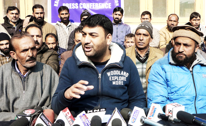 Kashmir PHE Joint Employees Association President addressing a press conference in Srinagar. -Excelsior/Shakeel