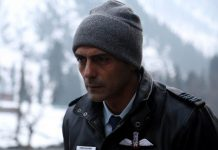 Bollywood actor Arjun Rampal in action during the shooting of his upcoming and debut web series 'The Final Call' at the world famous ski resort Gulmarg on Wednesday. (UNI)