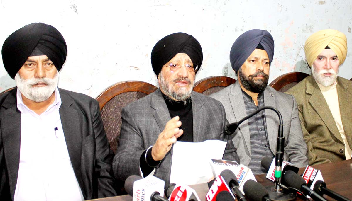 SGPB chairman T S Wazir addressing press conference in Jammu on Tuesday. -Excelsior/Rakesh