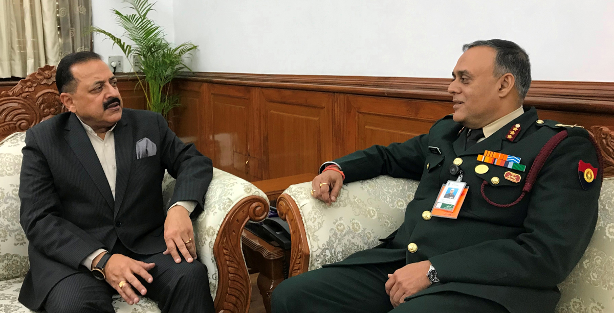 Union Minister Dr Jitendra Singh with newly appointed Director General Medical Services (DGMS) - Army, Lt. General M. Ganguly, on Thursday.
